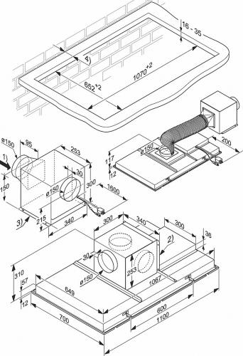 Hote la nivelul plafonului Hota montaj in tavan DA 2906 D