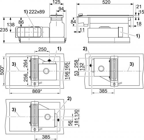 Element CombiSet cu hota la nivelul blatului Plita inductie si Tepan cu hota CSDA 1020 CombiSet